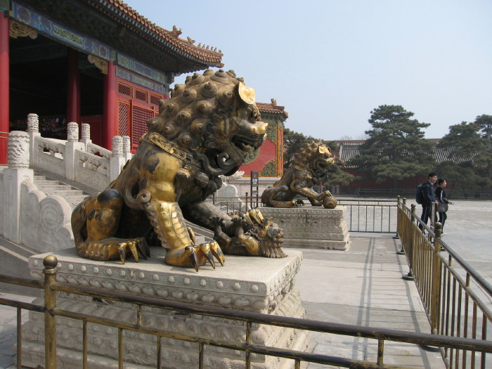 Lions in front of temple