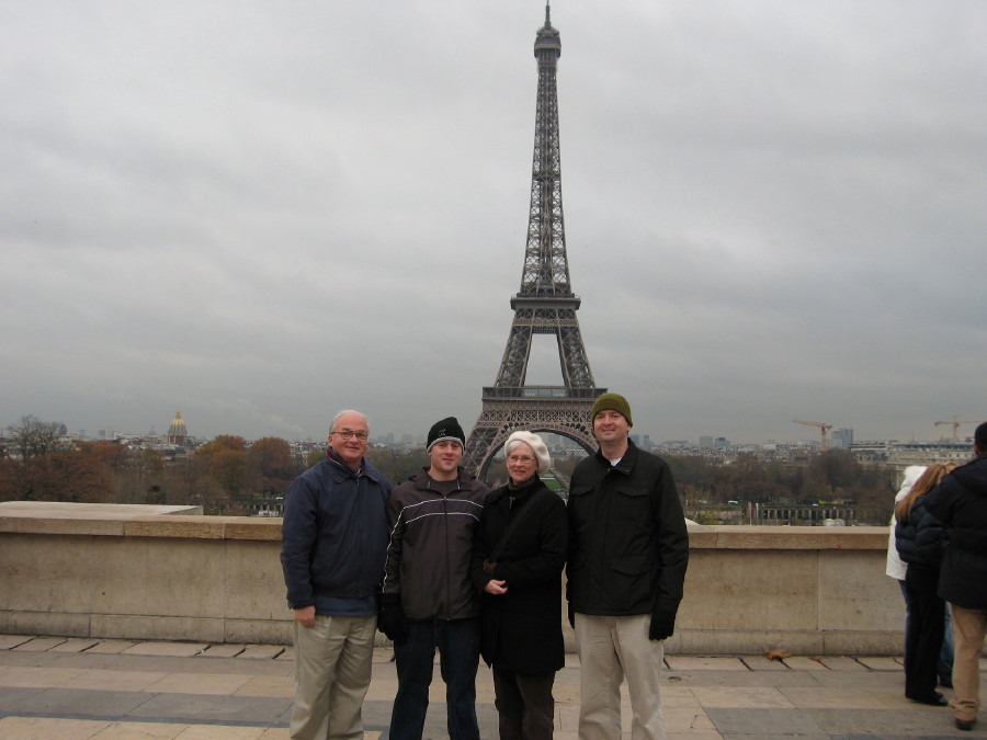 the four of us at the Eiffel tower